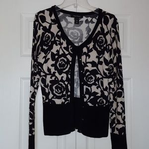 White House Black Market button up rose cardigan
